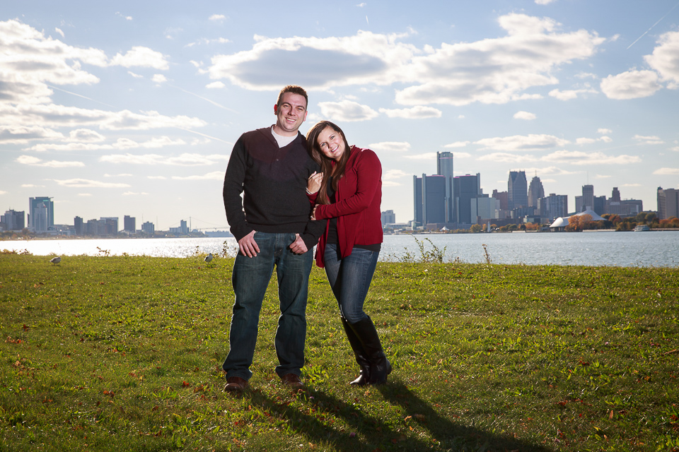 Belle Isle engagement photo Detroit skyline